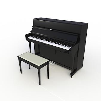 Vista lateral del piano negro clásico del instrumento musical aislado en el fondo blanco