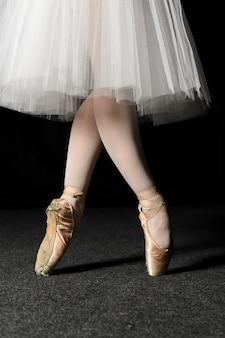 Vista lateral de pies de bailarina en zapatillas de punta y vestido de tutú