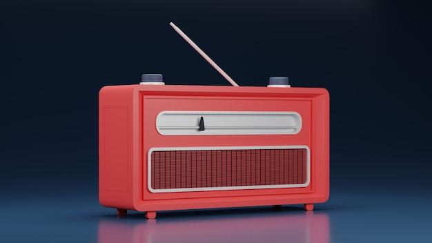 Vista lateral de la radio clásica roja con fondo brillante en diseño 3d