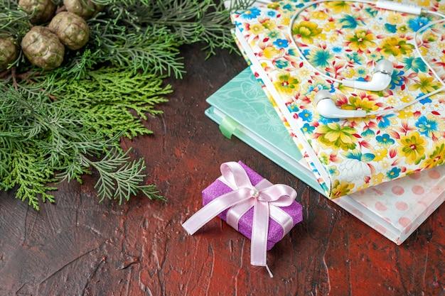 Vista lateral de ramas de abeto regalo de color púrpura y dos libros sobre fondo rojo.