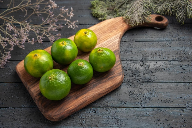 Vista lateral superior seis limones en la mesa seis limones a bordo en la mesa junto a las ramas de los árboles