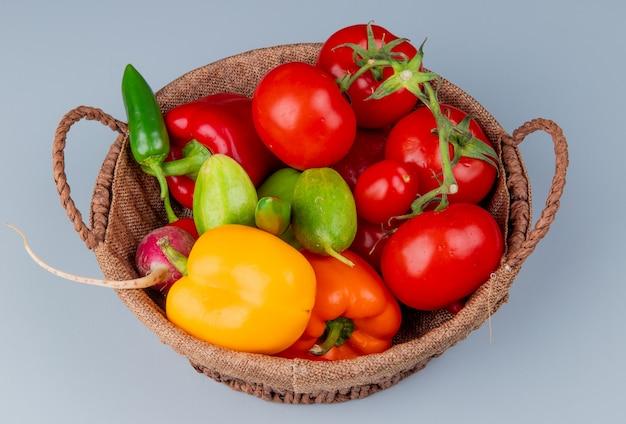 Vista lateral de verduras como pimiento tomate rábano pepino sobre fondo azul.