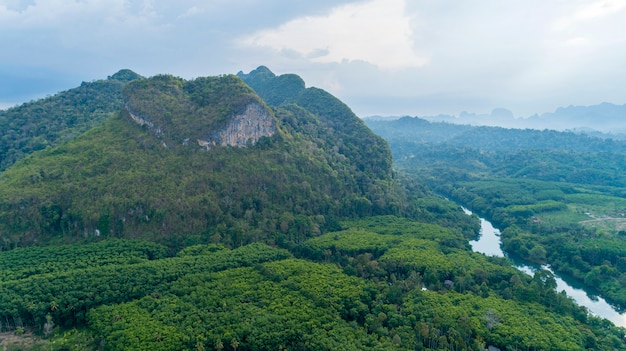 Vista de la naturaleza de drone de la montaña increíble de la naturaleza del corazón en surat thani, tailandia
