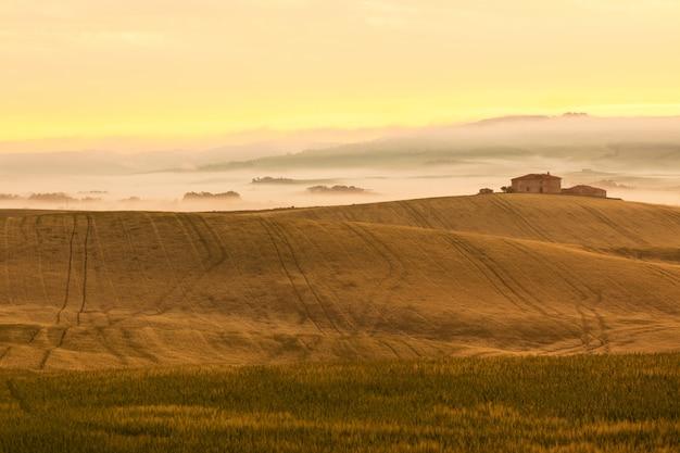 Vista de niebla de la mañana en la granja en la toscana, italia
