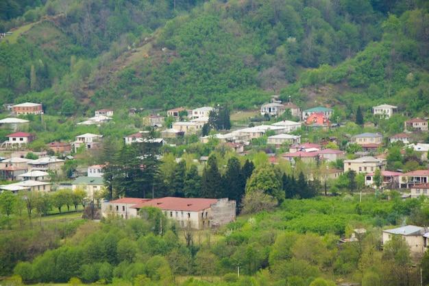Vista y paisaje del casco antiguo y del centro de la ciudad en georgia. ciudad de tsalenjikha.