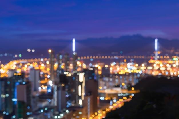 Vista del paisaje urbano de hong kong en la noche