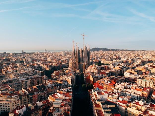Vista de pájaro de la ciudad de barcelona