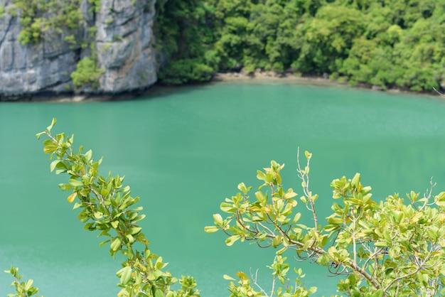 Vista de pájaro del paisaje del parque marino nacional de angthong, ko samui, tailandia
