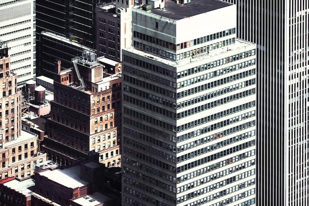 Vista de pájaro de paisaje urbano de nueva york