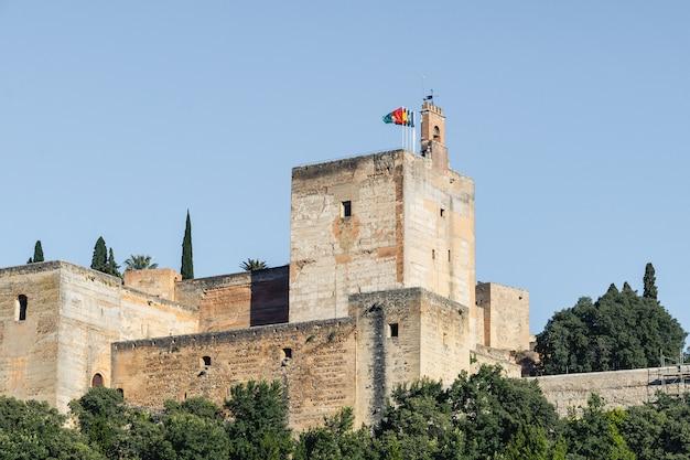 Vista del palacio de la alhambra desde el mirador de carvajales. cielo azul para copia espacio o collage