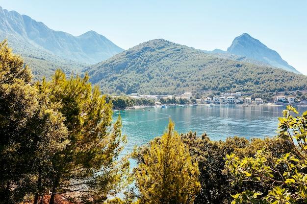 Vista panorámica de árboles con verdes montañas y casas con lago.