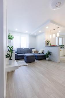 Vista panorámica desde la cocina a la sala de estar abierta en un apartamento de diseño moderno