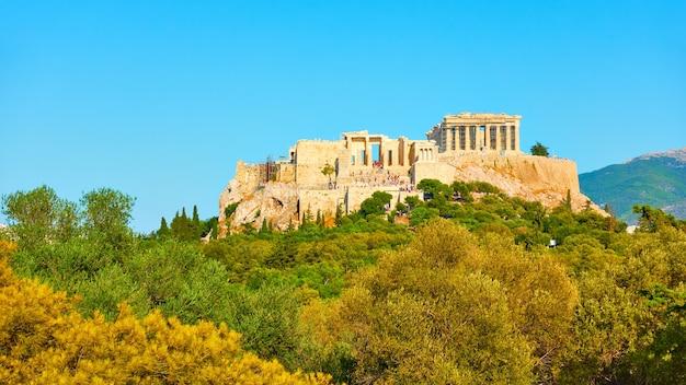 Vista panorámica de la colina de la acrópolis en atenas, grecia - paisaje
