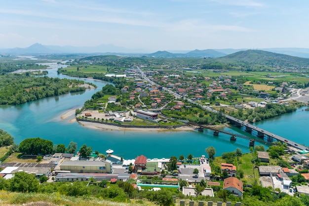 Vista panorámica desde la fortaleza de rosafa, albania