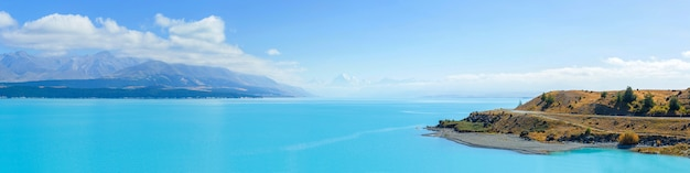 Vista panorámica del lago pukaki y el monte cook en la isla sur de nueva zelanda