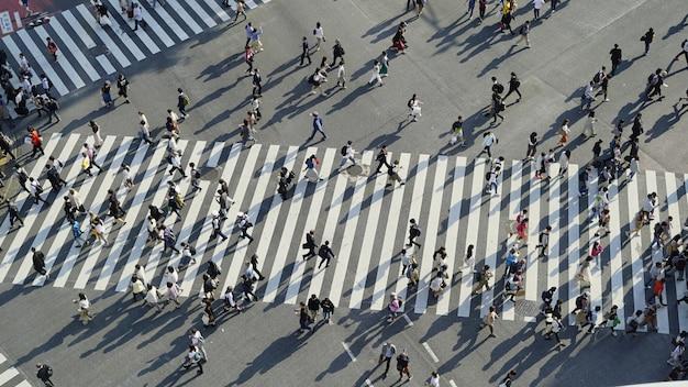Una vista panorámica de las multitudes que cruzan la intersección revuelta en shibuya (tokio, japón)