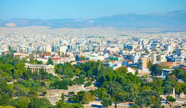 Vista panorámica de la parte central de la ciudad de atenas en grecia