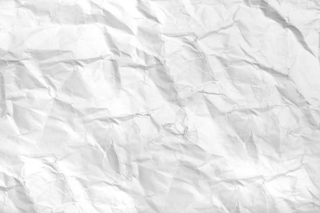 Vista de papel arrugado blanco