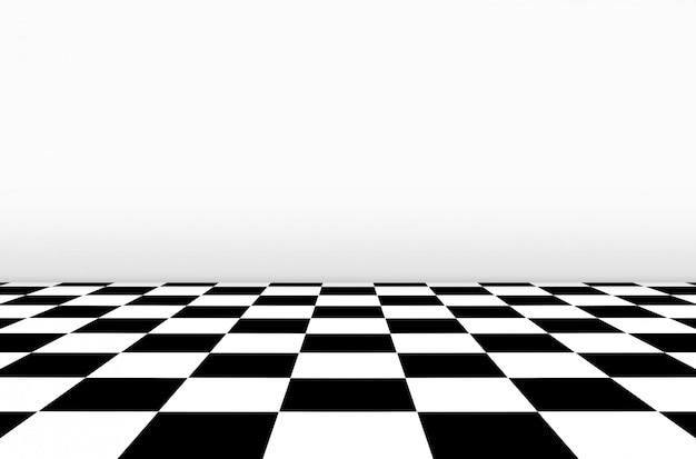 Vista en perspectiva del piso del tablero de ajedrez con fondo de pared gris.