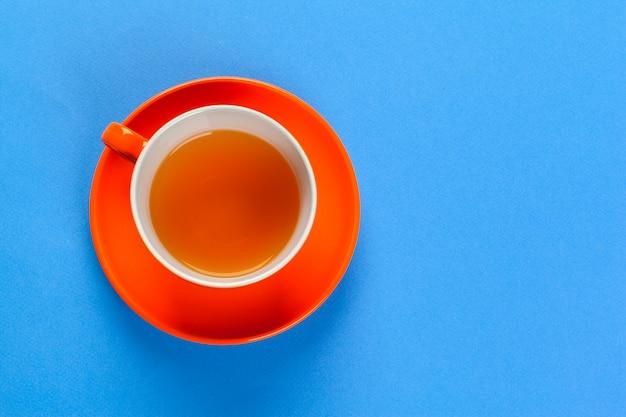 Vista plana laico café o taza de té