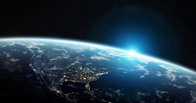 Vista del planeta tierra azul en el espacio.