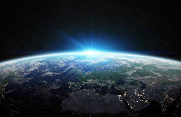 Vista del planeta tierra azul en representación 3d de espacio