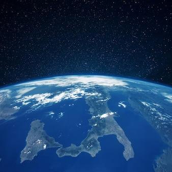 Vista del planeta tierra desde el espacio. continente de italia. cielo estrellado