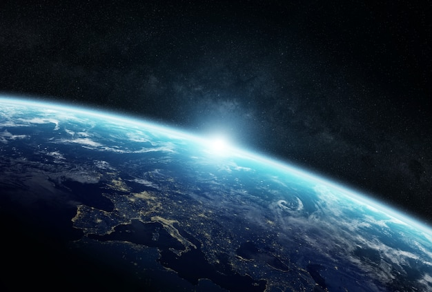 Vista del planeta tierra en el espacio.