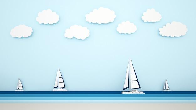 La vista a la playa y el velero en la vista al mar.