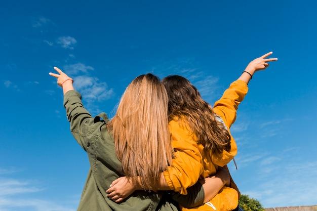 Vista posterior de dos amigos que gesticulan signo de victoria contra el cielo azul