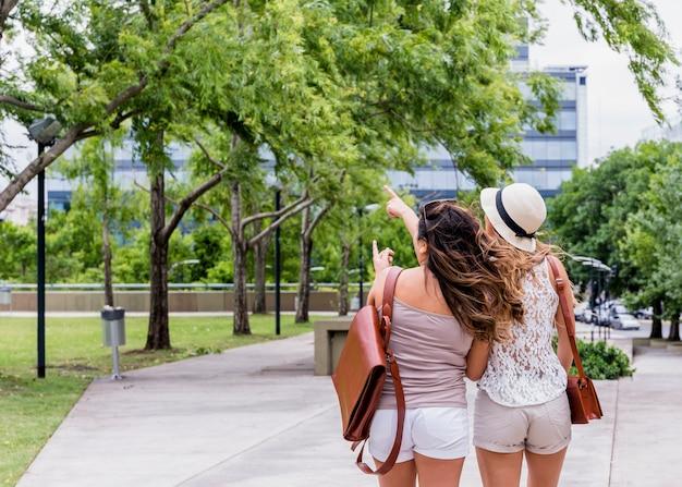 Vista posterior de dos turistas mujeres de pie en el parque apuntando a algo