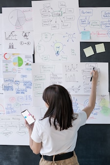 Vista posterior de la entrenadora con smartphone apuntando a información financiera en papeles colgados en la pizarra en la oficina