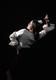 Vista posterior de la intérprete de flamenco