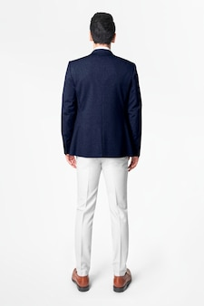 Vista posterior de la moda del desgaste del negocio de la chaqueta de los hombres azul marino