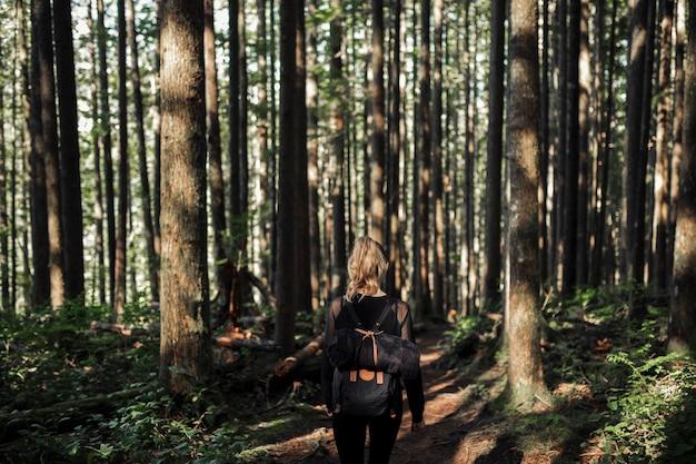 Vista posterior de la mujer con su mochila caminando en el bosque