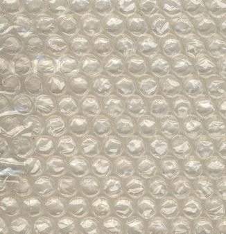 Vista en primer plano de la burbuja de aire de polietileno para el embalaje a prueba de golpes