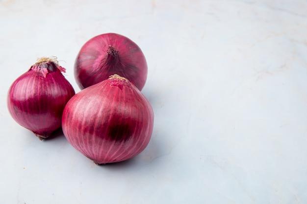 Vista de primer plano de cebollas rojas enteras en el lado izquierdo y fondo blanco con espacio de copia