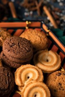 Vista de primer plano de galletas de té