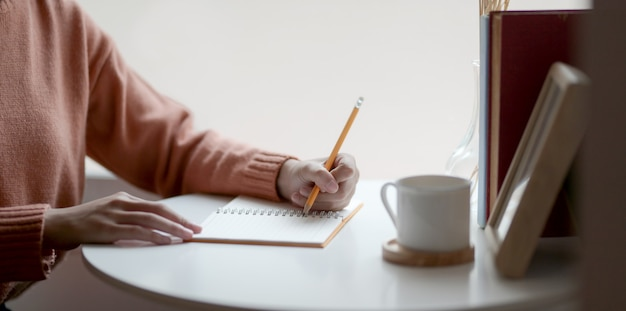 Vista de primer plano de una mujer joven escribiendo su idea en el cuaderno mientras trabajaba en su proyecto