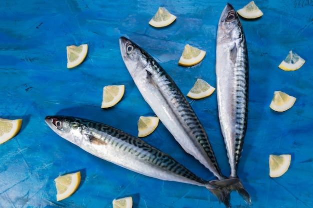 Vista de primer plano de pescado crudo fresco caballa saludable