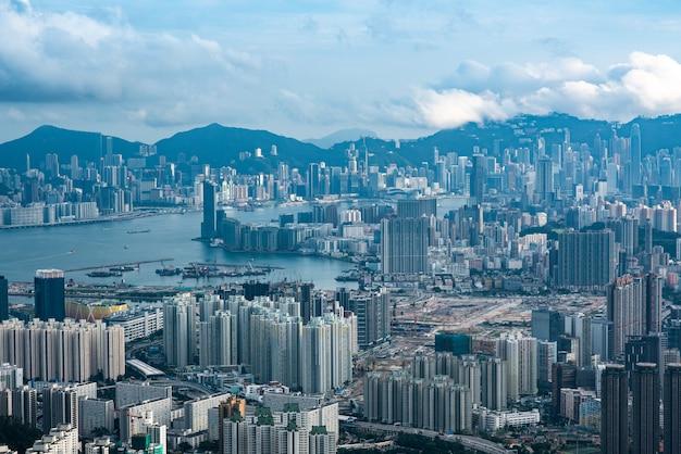 Vista del puerto victoria de hong kong, paisaje urbano de hong kong