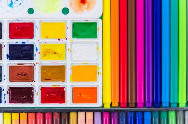 Vista rotuladores coloridos y acuarelas