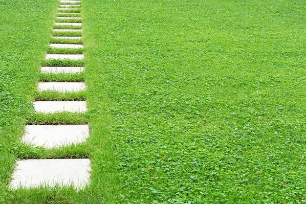 Vista de un sendero hecho de losas cuadradas de hormigón contra un césped verde. concepto, textura, diseño del paisaje.