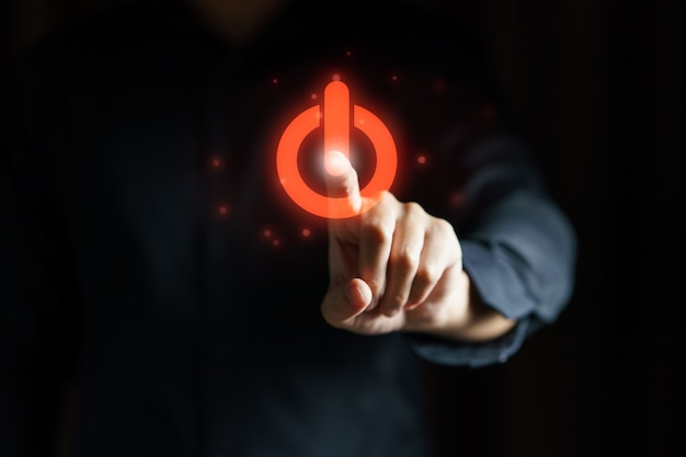 Vista de un símbolo abierto de prensa de mano de negocios