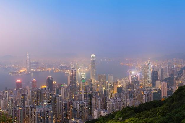 Vista del sitio de hong kong desde el punto de vista pico de victoria