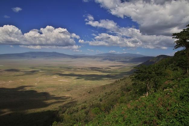 La vista sobre el parque nacional de ngorongoro, tanzania