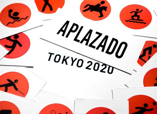 Vista superior 2020 evento deportivo aplazado acuerdo