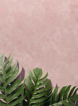 Vista superior 3d composición de hojas de palma verde
