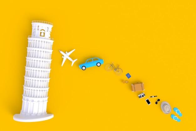 Vista superior de los accesorios del viajero abstracto fondo amarillo mínimo