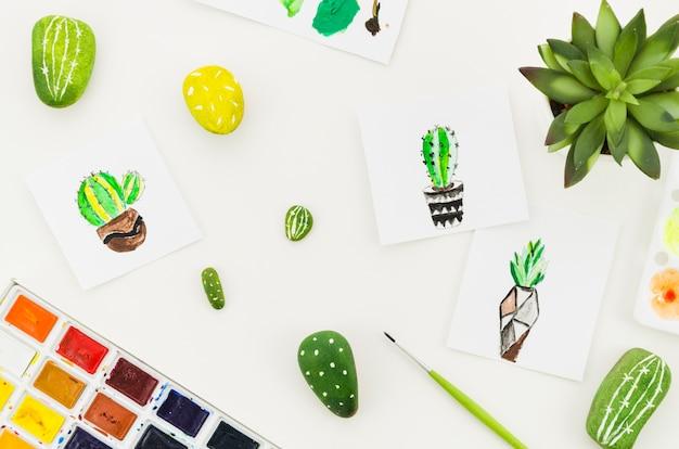 Vista superior acuarelas de cactus